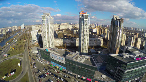 Aerial view of residential district in big city, tall buildings Footage