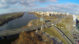 View from helicopter on city traffic, transport infrastructure Footage