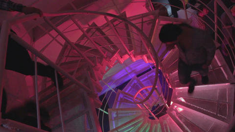 Young people walking upstairs, downstairs at nightclub, movement Footage