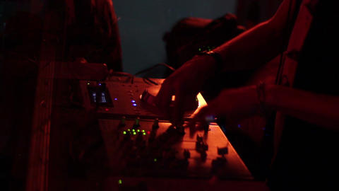 DJ mixing club music, using control deck, music video background Footage