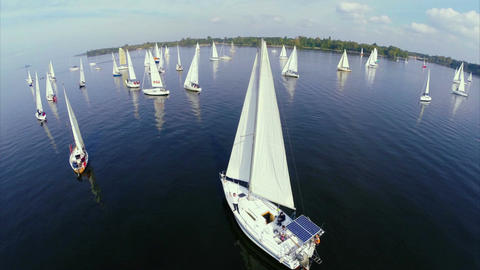 Numerous sailing yachts in open sea, regatta, competition, race Footage