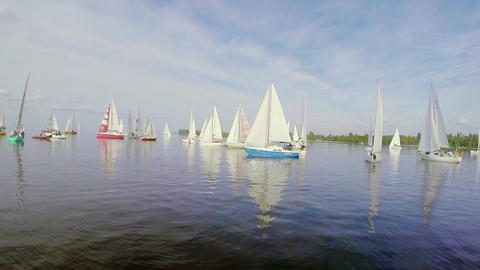 Multiple yachts cruising in the sea, colorful sails, regatta Footage