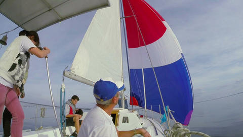 Sailors on deck, team, crew, yachting, sailing, active rest Footage