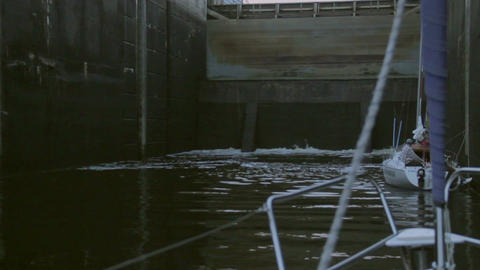 River channel lock filling up with water, transport, sailing Footage