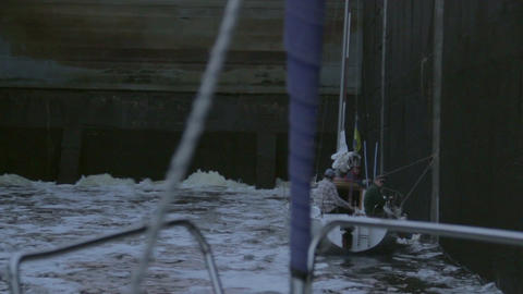 Channel lock filling with water, industry, transport, sailing Footage