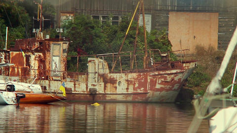 Old rusty ship in harbor, abandonment, destruction, wrecks Footage