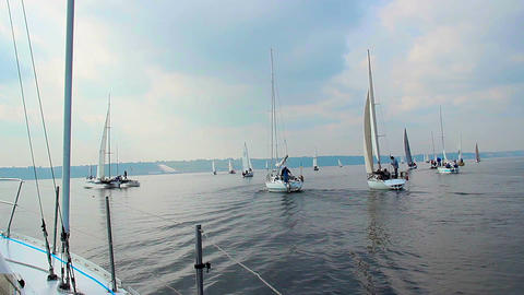 Many yachts in open sea, sailing, regatta, sport, adventures Live Action