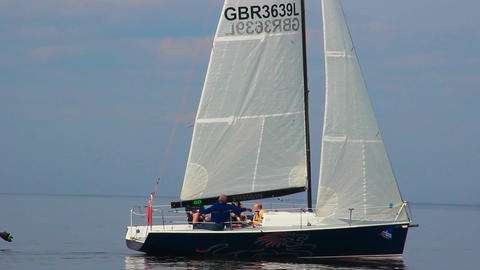 Sailing yacht moving at high speed, regatta, race, extreme sport Footage
