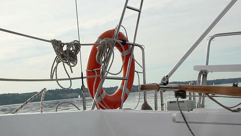 Racing yacht on sea, sailing equipment, outdoor activities Footage