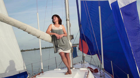 Beautiful lady thinking about life. Yachting, traveling, tourism Footage