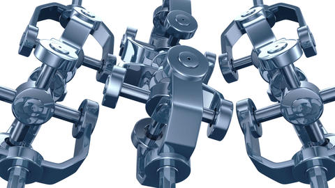 3d animation of mechanical parts spinning in seamless loop. Alpha channel. HD 10 Animation