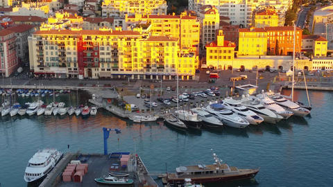 Aerial View of Nice Harbor During Sunset Footage