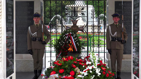 Honorary Guards on Duty next to the Tomb of the Unkown Soldier. Warsaw. Poland.  Footage