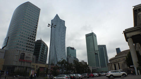 The modern center of Warsaw. Poland. 4K Footage