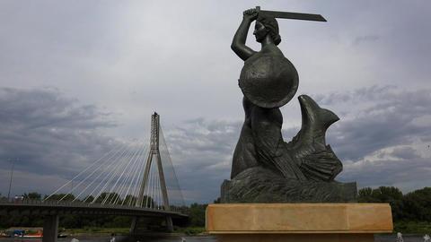 Warsaw's mermaid, siren - symbol/emblem of Warsaw in Poland. 4K Live Action