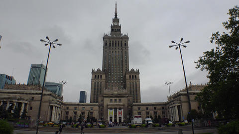 Palace of Culture and Science in Warsaw, Poland. 4K Footage