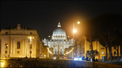 St. Peter's Basilica. View from the Tiber. Night. Rome, Italy Footage