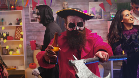 Bearded man dressed up like a pirate celebrating halloween Live Action