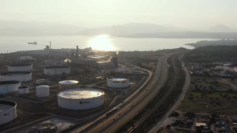 Aerial view of Chemical plant at sunset, oil refining, smoke, pipes, ecology Live Action