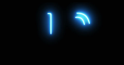 Flickering Neon Countdown on Black Background Live Action