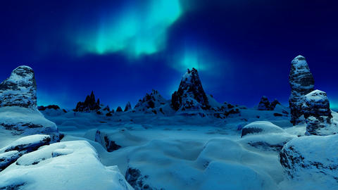 Mountain Gorge and Northern Lights Animation