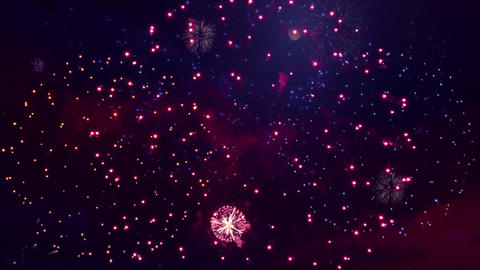 Beautiful fireworks exploding Display on the black Loop Animation Background Live Action