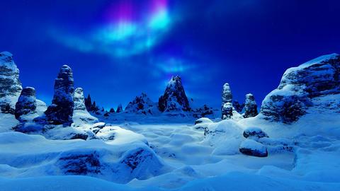 Mountain range and northern lights Animation