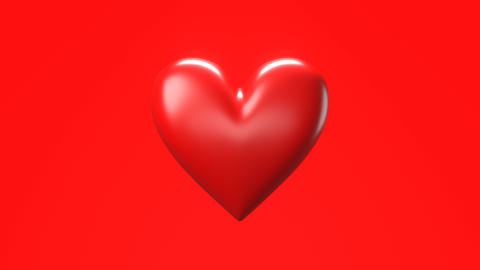 Red broken heart objects in red background. Heart shape object shattered into pieces Animation