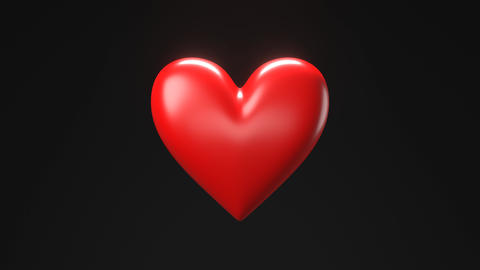 Red broken heart objects in black background. Heart shape object shattered into pieces CG動画