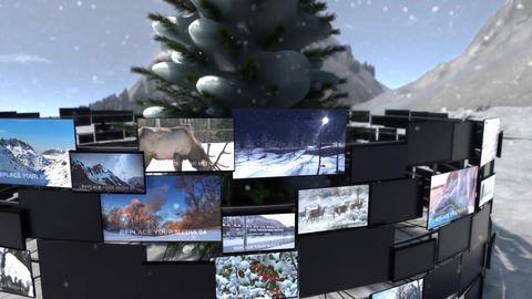 Video Screens On Winter Nature After Effects Template