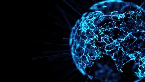Digital globe big data social network Earth planet hologram 4k alpha matte loop Animation