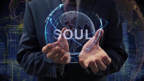 Male hands activate hologram Soul Live Action