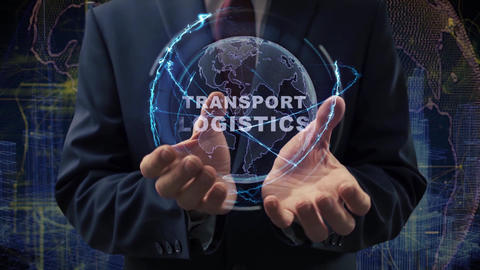 Male hands activate hologram Transport logistics Live Action