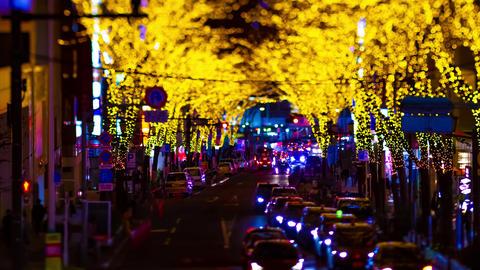 A night timelapse of the miniature illuminated street in Shibuya tiltshift tilt Live Action