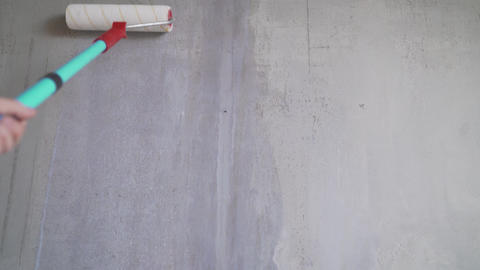 Painting out a bare wall with a paint roller with gray paint. Hand painting Live Action