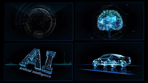 Digital Network Technology AI artificial intelligence data concepts Background A 2x2 A blue 4k Animation