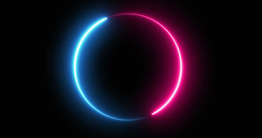 Abstract Particles of Neon Light Running in a Circle Shape Live Action