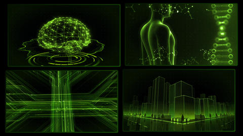 Digital Network Technology AI artificial intelligence data concepts Background A 2x2 F green 4k Animation