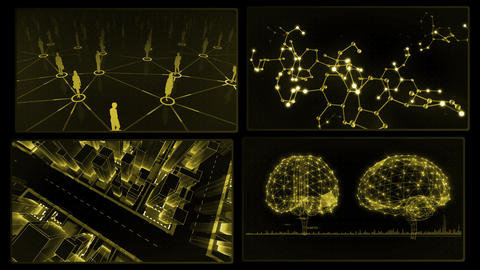 Digital Network Technology AI artificial intelligence data concepts Background A 2x2 I yellow 4k Animation