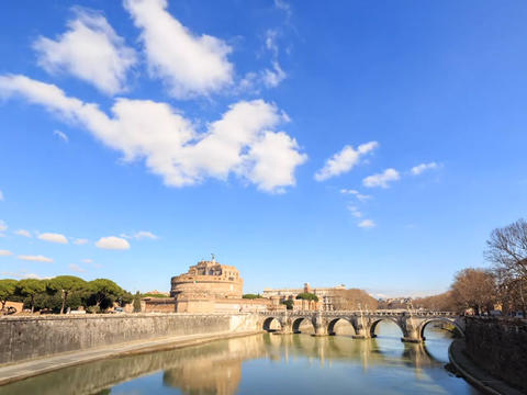 Clouds over the Castle Sant Angelo. Rome, Italy. TimeLapse Footage
