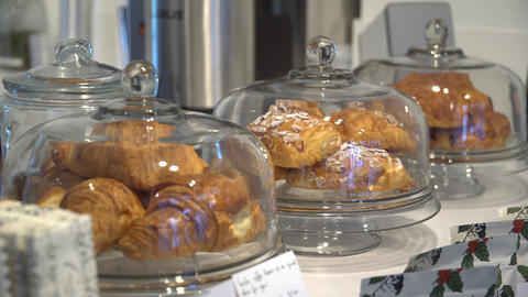 Croissants on display in a coffee shop Footage