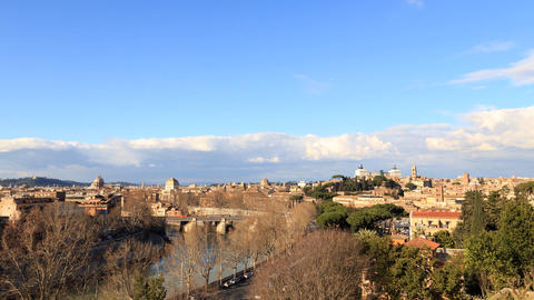Rome's rooftops. View from the Giardino degli Aranci. Rome, Italy. Time Lapse Footage