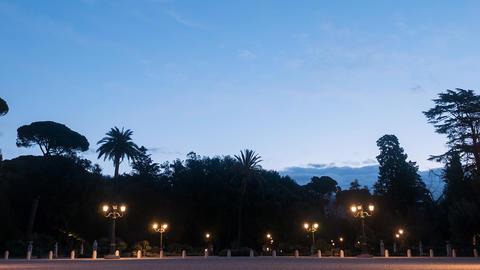 Dawn at Pincio. Garden Villa Borghese, Rome, Italy. TimeLapse Footage