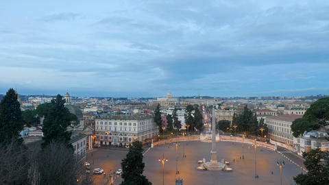 St. Peter's Basilica, the view from Piazza del Popolo. Rome, Italy Footage