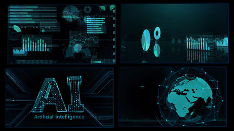 Digital Network Technology AI artificial intelligence data concepts Background A 2x2 C blue 4k Animation