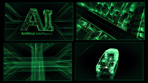 Digital Network Technology AI artificial intelligence data concepts Background A 2x2 K green 4k Animation