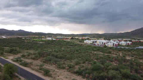 Cityscape, aerial footage of a small district in Windhoek, Namibia, cloudy Live Action