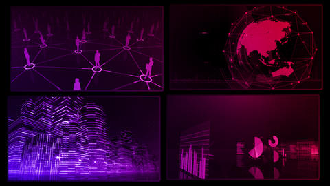 Digital Network Technology AI artificial intelligence data concepts Background A 2x2 M red 4k Animation