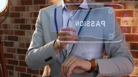 Man uses smartwatch hologram Passion Live Action