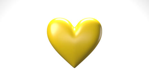 Yellow broken heart objects in white background. Heart shape object shattered into pieces Animation
